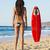 surfista · menina · surfe · olhando · oceano · praia - foto stock © iko