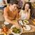 feliz · casal · alimentação · jantar · vegan · restaurante - foto stock © iko