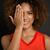 cute · zwarte · vrouw · glimlachend · portret · vergadering · vloer - stockfoto © iko