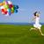 springen · Ballons · schönen · sportlich · Mädchen · Ballon - stock foto © iko