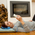 paisible · femme · écouter · musique · étage · maison - photo stock © iko