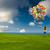 幸せな女の子 · カラフル · 風船 · パーティ · 子 · 青 - ストックフォト © iko