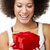 geschenk · mooie · gelukkig · jonge · vrouw · Rood - stockfoto © iko