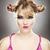 grappig · portret · blond · meisje · jonge · vrouw · gelukkig - stockfoto © iko