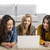 groep · drie · meisjes · met · behulp · van · laptop · home · meisje - stockfoto © iko