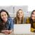 группа · три · девочек · используя · ноутбук · домой · девушки - Сток-фото © iko