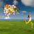 sautant · ballons · belle · athlétique · fille · ballon - photo stock © iko