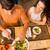 gelukkig · paar · eten · diner · veganistisch · restaurant - stockfoto © iko