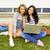 diákok · tanul · ül · fű · tanulás · együtt - stock fotó © iko