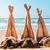 três · mulheres · praia · verão · chapéu · de · palha - foto stock © iko