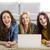 csoport · három · lányok · laptopot · használ · otthon · lány - stock fotó © iko