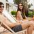 genç · gülen · adam · oturma · başvurmak · içme - stok fotoğraf © iko