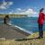tél · trekking · Izland · utazó · lány · térkép - stock fotó © iko