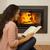 maison · cheminée · heureux · femme · lire · livre - photo stock © iko