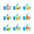 set of emoticons thumb up symbol with emoji smiley faces vector illustration stock photo © ikopylov