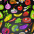 seamless pattern with vegetables and fruits on black background stock photo © ikopylov
