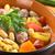 zöldségleves · húsgombócok · fehér · tányér · narancs · étterem - stock fotó © ildi