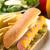 ホットドッグ · フライドポテト · 漬物 · タマネギ · マスタード · 務め - ストックフォト © ildi