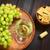 botella · de · vino · blanco · vidrio · vid · uvas · jardín - foto stock © ildi