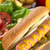 hot · dog · mosterd · voedsel · tabel · brood · kleur - stockfoto © ildi