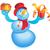 bonhomme · de · neige · écharpe · chapeau · bleu · neige · paysage - photo stock © ildogesto