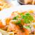 ízletes · tészta · lazac · közelkép · tányér · füstölz · lazac - stock fotó © ilolab