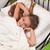 felfelé · gyönyörű · fiatal · nő · alszik · ágy · tart - stock fotó © ilona75