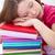 подростку · спящий · книга · девушки · исчерпанный · обучения - Сток-фото © ilona75