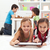 kids playing classic board games and modern tablet computer game stock photo © ilona75