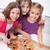 mutlu · arkadaşlar · genç · kızlar · yeme · pizza - stok fotoğraf © ilona75