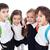 groep · gelukkig · kinderen · terug · naar · school · geïsoleerd · meisje - stockfoto © ilona75