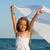 küçük · kız · deniz · kıyı · oynama · başörtü · rüzgâr - stok fotoğraf © ilona75