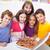 дети · домой · пиццы · есть · девушки · продовольствие - Сток-фото © ilona75