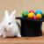Easter bunny guarding the colorful eggs stock photo © ilona75