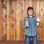 Boy painting wooden wall stock photo © ilona75