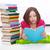 jong · meisje · boeken · lezing · vloer · gezicht · gelukkig - stockfoto © ilona75