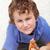 мальчика · ломтик · пиццы · сидят · полу · продовольствие - Сток-фото © ilona75