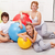 happy woman and kids exercising at home stock photo © ilona75