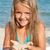 küçük · kız · plaj · oynama · kum · su · kız - stok fotoğraf © ilona75