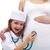 meisje · luisteren · buik · zwangere · moeder · home - stockfoto © ilona75
