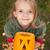 ősz · portré · halloween · tök · kislány · felfelé · néz · arc - stock fotó © ilona75