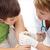 ferida · menino · mulher · médico · criança - foto stock © ilona75