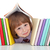 Mischievous kid with freckles and books stock photo © ilona75