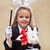 mutlu · küçük · kız · komik · tavşan · kulaklar - stok fotoğraf © ilona75