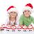 mutlu · Noel · çocuklar · gülen · şapka - stok fotoğraf © ilona75