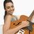 kobieta · gry · gitara · kanapie · posiedzenia - zdjęcia stock © imagedb