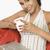 女性 · ラップトップを使用して · カップ · コーヒー · 笑顔 · ノートパソコン - ストックフォト © imagedb
