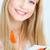 szőke · nő · eszik · saláta · boldog · lány - stock fotó © imarin