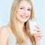 kadın · cam · süt · mutlu · sarışın - stok fotoğraf © imarin