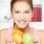 vrouw · kom · vruchten · portret · jonge · gelukkig - stockfoto © imarin